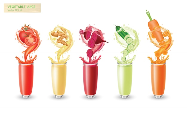 A set of fresh isolated vegetable juices motion splash with droplets and bubbles
