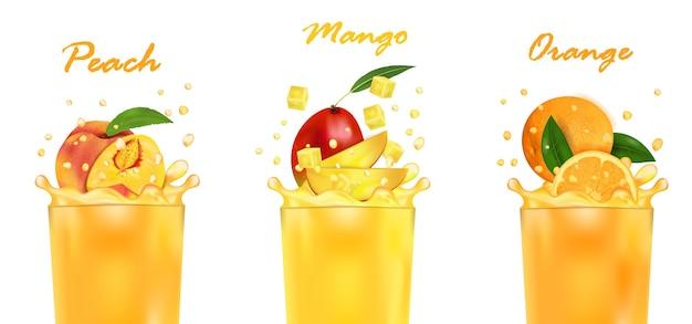 신선한 주스 망고, 오렌지, 복숭아 및 스플래시를 설정하십시오. 달콤한 열 대 과일 3d 현실, 흰색 배경에 고립. 패키지 디자인 또는 포스터, 광고.