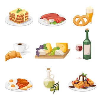 Set of fresh morning food. european breakfast cartoon vector illustration.