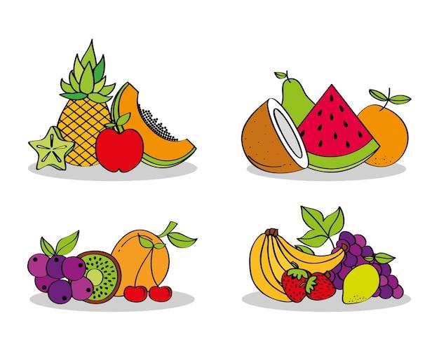 Set of fresh nutrition food fruits