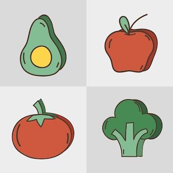 Установить свежие фрукты и овощи органа