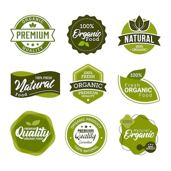 Set of fresh organic food labels and elements