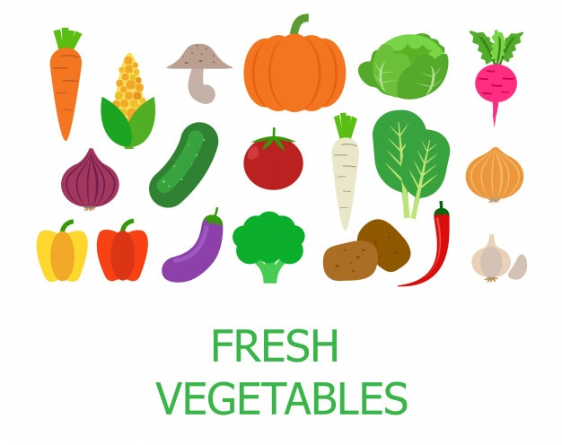 Set of fresh organic vegetables