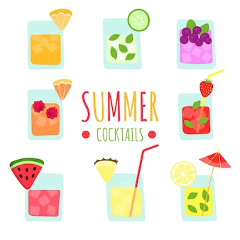 Set of fresh summer tropical fruit smoothies