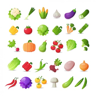 Set fresh vegetables icons different stickers collection healthy food concept