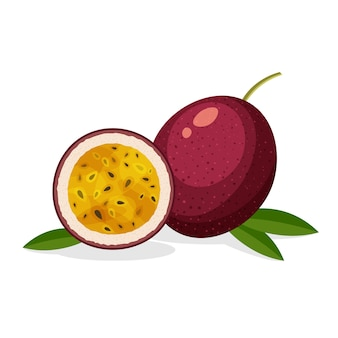 Set of fresh whole, half, cut slice and piece of passion fruit isolated on white background. vegan food in a trendy cartoon style. healthy concept. Premium Vector