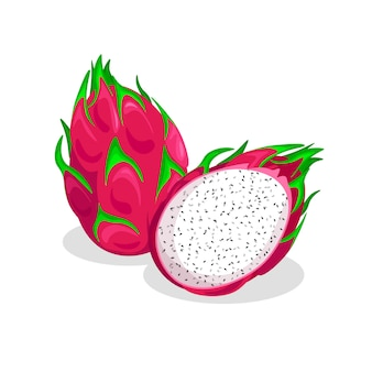 Set of fresh whole and half of pitaya isolated. dragon fruit with shadow in a trendy cartoon style.