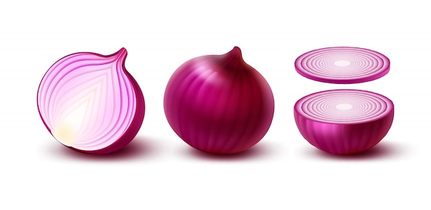 Set of fresh whole and sliced red onion bulbs close up isolated on white background