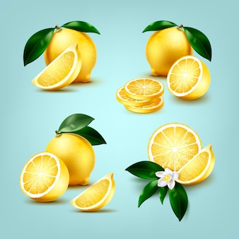 Set of fresh whole and slices of lemons fruit and half with leaves and flower isolated on light blue background
