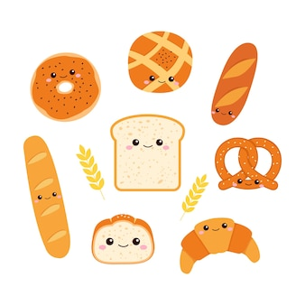 Set of freshly baked bread with cute smiley face flat   design