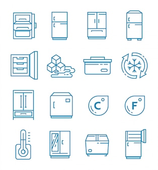 Set of fridge icons with outline style