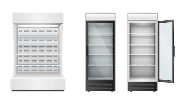 Set of fridges for supermarket or grocery store with glass door and selves for products storage and display. realistic refrigerators. 3d vector illustration