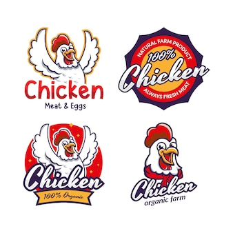 Set of fried chicken restaurant logo template