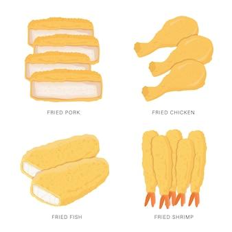 Set of fried food isolated on white background. cartoon illustration