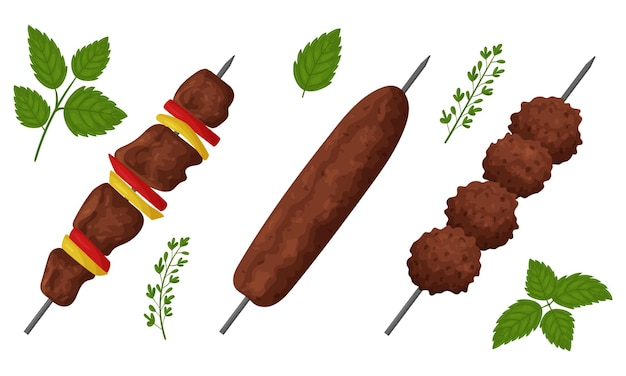 A set of fried meat food. shish kebab, lula kebab, meatballs.