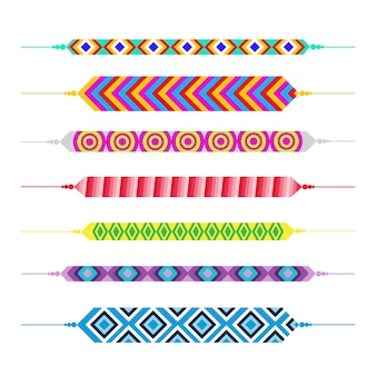 Set of friendship bracelets happy friends day greeting card holiday banner