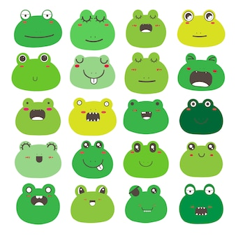 Set of frog face emoticons, cute frog character design.