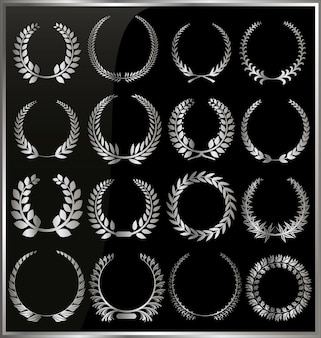 Set from silver laurel wreath on the black background