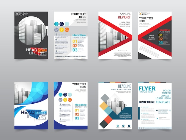 Set front and back business brochure template