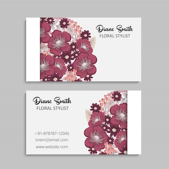 Set of front and back of business card with flowers