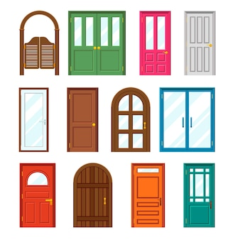 Set of front buildings doors in flat style.