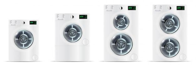 Set of front load white washing machines