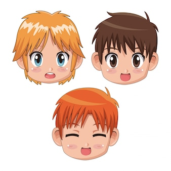 Set front view face cute anime teenagers facial expression