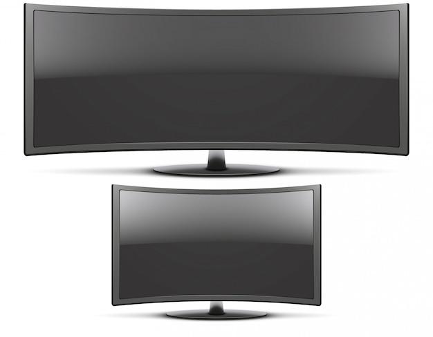 Установить фронтальный вид изогнутого широкоэкранного светодиодного или жк-телевизора