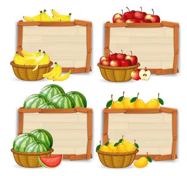 Set of fruit banner