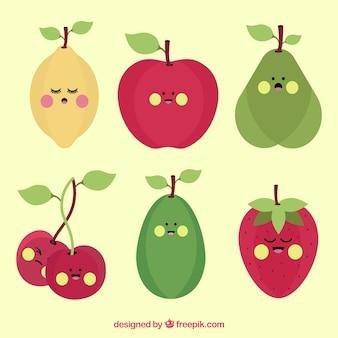 Set di caratteri di frutta con espressioni facciali in design piatto