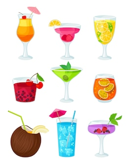 Set of fruit cocktails isolated on white