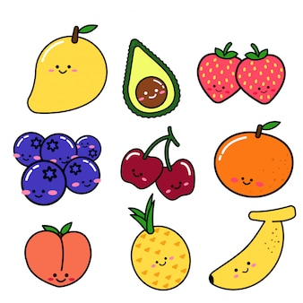 Set of fruit in doodle style