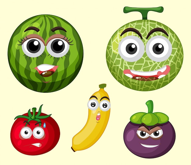 A set of fruit expression