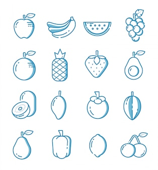 Set of fruit icons with outline style