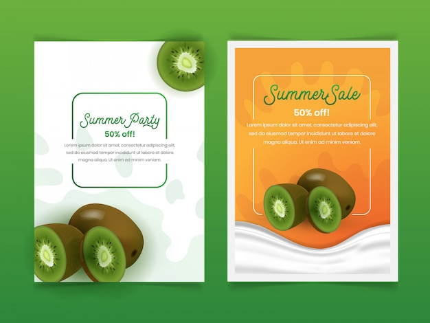 Set of fruit kiwi summer flyer design template with 3d realistic style