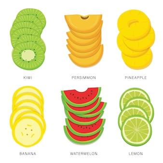 Set of fruit slices. organic and healthy food isolated element