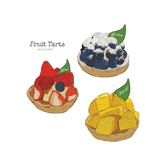 Set of fruit tart