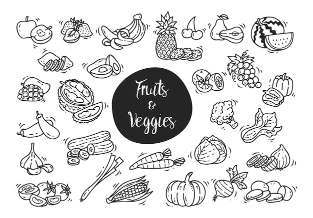 Set of fruit and vegetables icon doodle isolated on white background