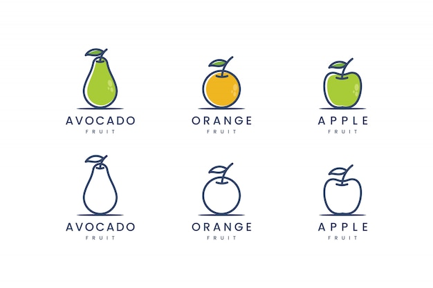 Set fruit with line cpncept logo design inspiration