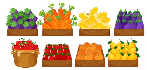 A set of fruits in basket