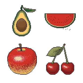 Set of fruits and berries pixel art on white background