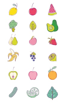 Set of fruits cute cartoons collection