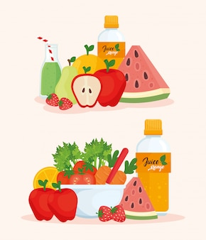 Set of fruits fresh and healthy