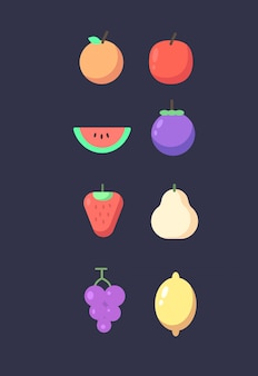 Set of fruits. fruits icon set . fruit vector illustration