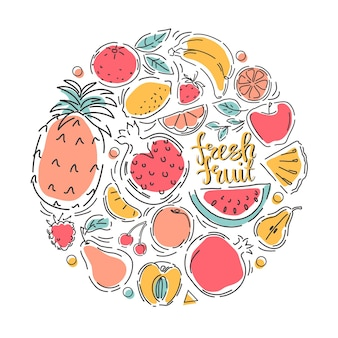 A set of fruits. healthy eco food. icons. vector illustration.