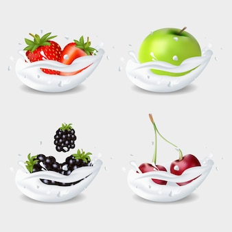 A set of fruits in milk. an apple. strawberry. blackberry and cherry.