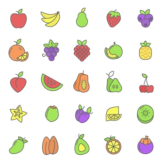 Set of fruits plant icon