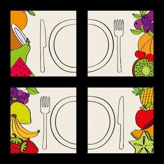 Set of fruits plate and fork knife food natural
