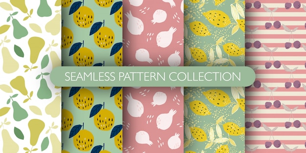 Set of fruits seamless pattern. collection of patterns - lemon with leaves, pomegranate, cherry, pear, apple.