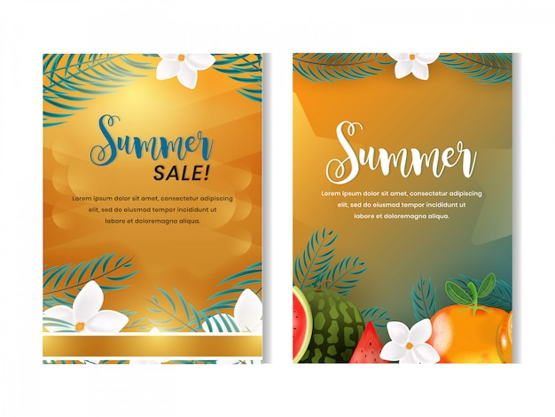 Set of fruits summer flyer design template with 3d realistic style